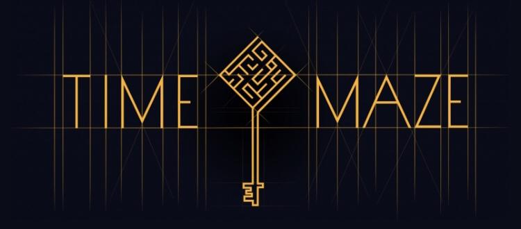 """Schriftzug von Time Maze Baden. Zwischen den beiden Worten """"Time"""" und """"Maze"""" ist eingemittet ein Schlüsselsymbol mit einem Labyrinth anstelle des Griffes zu sehen. Draufklicken um zur Website von Time Maze Baden zu gelangen."""